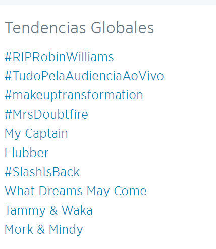 RIP R WIlliams  tendencia